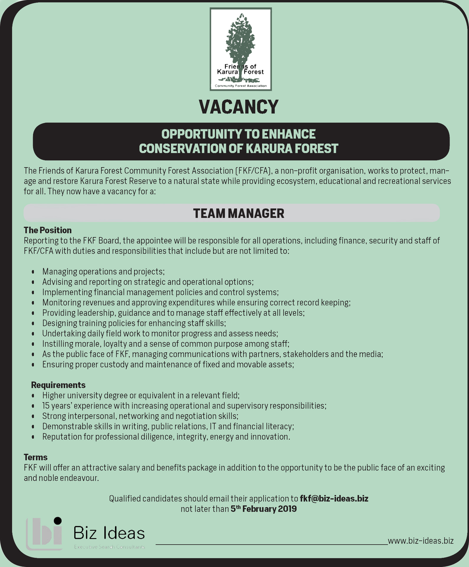 Vacancy Announcement Friends Of Karura Forest Team Manager